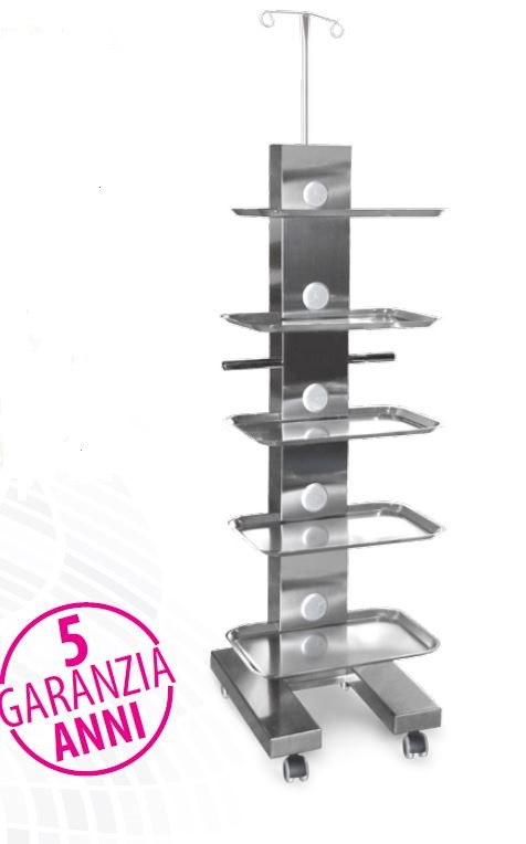 Carrello Easy Tray inox con 5 tray